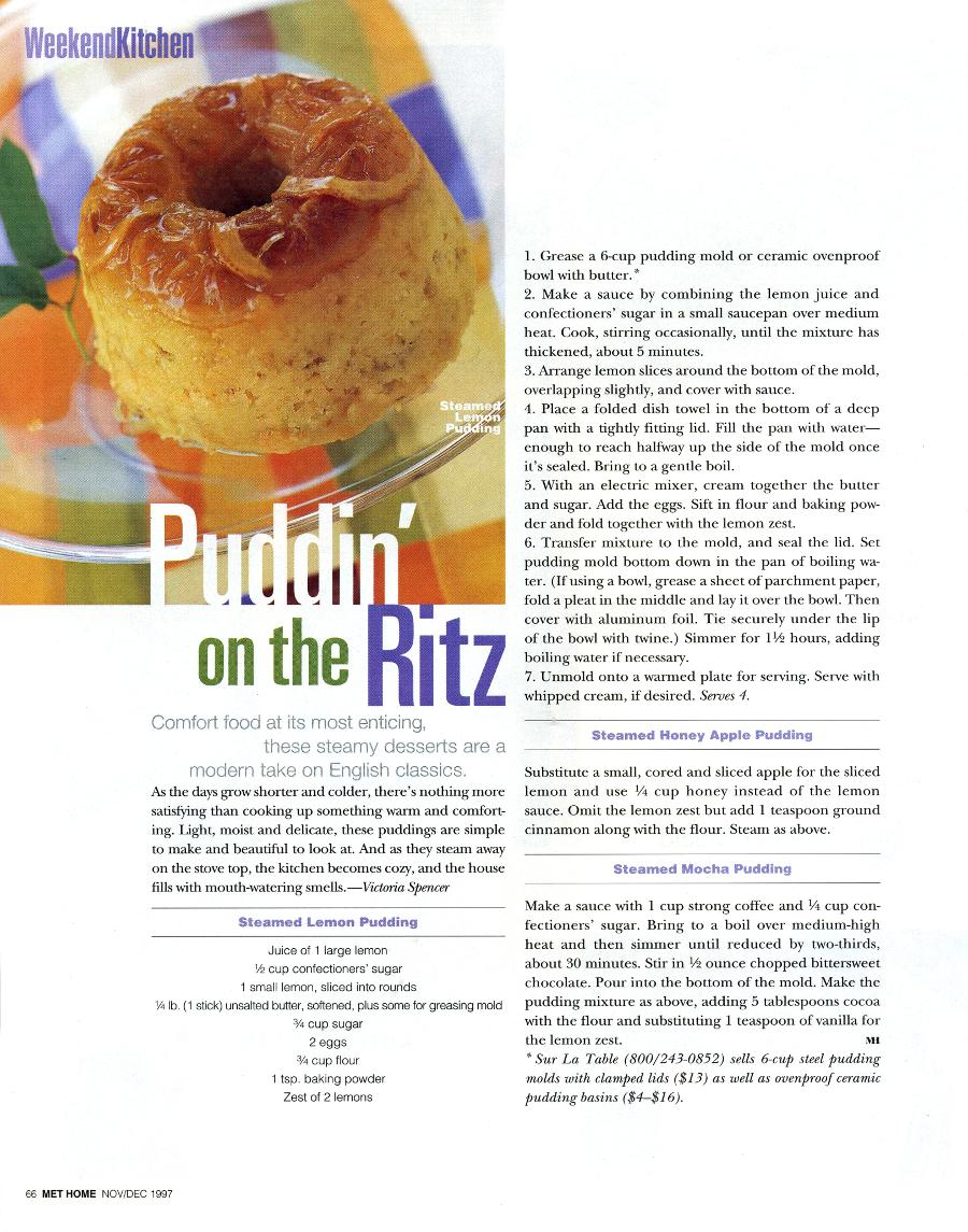 Puddin' on the Ritz - An article in Metropolitan Home - Page 1
